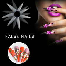 New Nail Art False Tips 500pc Stiletto Long Sharp 4.9cm False Acrylic Nail Tips