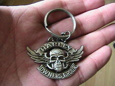 HARLEY DAVIDSON OWNERS GROUP SKULL WINGS MOTORCYCLE BIKER KEYRING KEY RING FOB