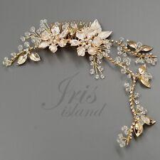 Bridal Hair Comb Crystal Headpiece Hair Clip Wedding Accessory Gold Flower HAAJ