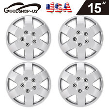 4 Set Hubcap 15 Inch Silver Direct Replacement Fit Full Lug Rim Covers Snap