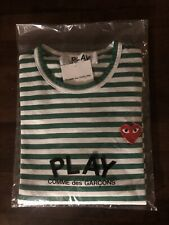 Commes Des Garcons Green/White Striped Long Sleeve T-Shirt Size XL (Fits Like M)