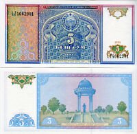 UZBEKISTAN / Usbekistan  5 Sum banknote 1994 P 75 kassenfrisch UNC.