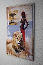 tin sign metal plate Arkadiusz Warminski picture Massai woman lion steppe Africa