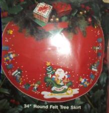 "NEW Bucill Gallery of Stitches 33192 Santa's Sleigh  34"" Round Felt Tree Skirt"