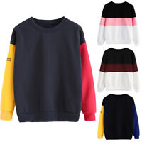 Women Long Sleeve Plain Hoodie Pullover Sweatshirt Ladies Jumper T-Shirt Tops UK