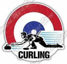 "Curling Broom Player Stone Slide Ice Winter Car Bumper Vinyl Sticker Decal 4.6"""