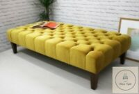 Extra Large Chesterfield Footstool / Coffee Table In Plush Velvet Fabric
