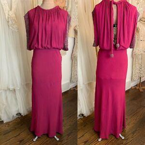 Vintage 1930s Maroon Beaded Formal Evening Gown Dress w/Beaded Tassels-Slit Back