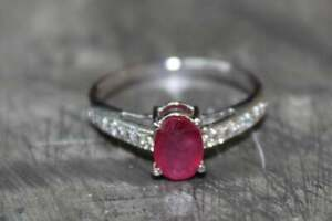 925 Sterling Silver Ruby Engagement Ring Natural 5x7 mm Glass Filled ruby ring