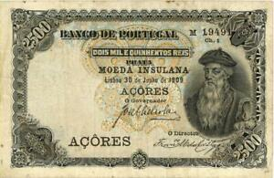Azores 2 1/2 Mil Reis Prata Currency Banknote 1909