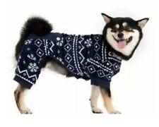 NEW PAWS LIFE Soft Fleece Dog Pajama Coat Large Navy Fair Isle & White Snowflake