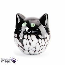 4cm Round Black and White Glass Cat Kitty Ornament Collectable Boxed Gift Pet