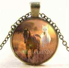 Vintage Galloping Wild Horses Cabochon Glass Bronze Chain Pendant Necklace