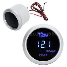 """Silver 52mm 2"""" Car Automobile Digital Volt Meter Voltage Gauge Blue LED US R0F8"""