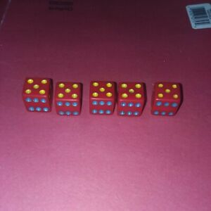 Yahtzee (?) Deluxe Edition Replacement Dice with Blue, Green and Yellow Pips