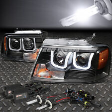 BLACK U-HALO PROJECTOR HEADLIGHT+CORNER+LED DRL+6000K SLIM HID FOR 04-08 F150