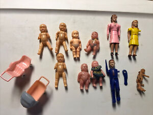 Vintage Lot 14 ~ 3 RENWAL DOLLHOUSE PEOPLE ~ Father Mother Girl Plastic Jointed.
