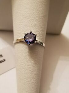 1.00 CT LAB TANZANITE SOLITAIRE 14KT SOLID WHITE GOLD PETITE RING SIZE 7