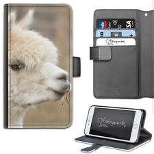 White Alpaca Phone Case, PU Leather Wallet Flip Case, Cover For Samsung, Apple