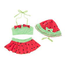 Bilo Baby Toddler Girls Lovely Tie Bikini Swimsuit and Hat 3pcs Set