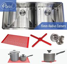"""Ariel 34"""" 15mm Radius Stainless Steel Double 60/40 Bowl Kitchen Sink Combo 16G"""