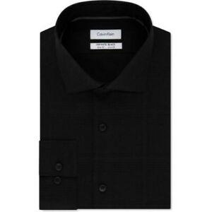 Calvin Klein Mens Infinite Button Up Dress Shirt black gray plaid