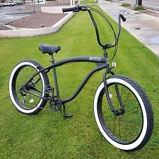 Fat Tire Beach Cruiser Bike- 26X3 Black 57mm Rims WW- 7 speed - Rear Disc SIKK