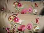 Beacon Hill Lumbar pillow covers Embroidered silk BELLEZZA Custom new PAIR
