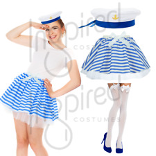 Girls SAILOR COSTUME Blue and White Sailor SKIRT OR HAT Fancy Dress Dance UK