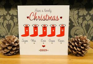 Personalised Christmas Card Stockings From ours house to yours Family Friends 🌲