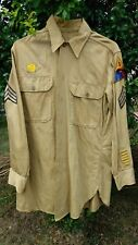 Vintage Military Long Sleeve Shirt 14 1/2 with Patches