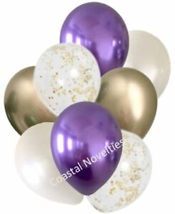 """8 High Quality Chrome Purple, White, and  Chrome Gold Balloons 11""""  Bouquet"""