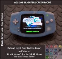 Game Boy Advance  System AGS101 Backlit Mod- PLASTIC Screen- GITD  BLUE