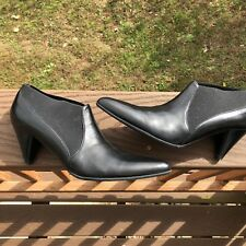 Prevata Oz Women's Leather Ankle Boots Size 8.5 Black Made In Italy