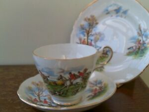 Vintage (1960's) Regency China 'Hunting Design' Fine Bone China Tea Set trio Wit