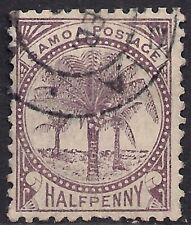 Samoa 1886 - 1900 QV 1/2d Purple Palm Tree used SG 34 Perf 12 x 11.5 ( R1107 )
