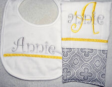 Grey and Yellow Personalized Embroidered Burp Cloth and Bib Set - Great Gift!