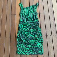 Isabel De Pedro Size 14 Green Black Dress Sleeveless Drape Dress Soft Cocktail