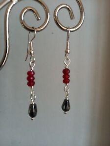 Dainty vintage style red & black drop dangly earrings ~ hematite quartz gemstone