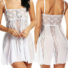 White Sexy Lingerie Lace Mesh Babydoll Wedding Bridal Nightwear G-String Set US