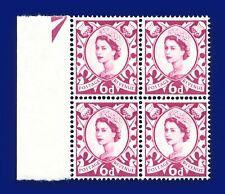 1963 SG S3p 6d Deep Claret (2 Bands) XS19 Marginal Block (4) MNH UM awsp