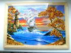 FRAMED PICTURE LANDSCAPE BALTIC SEA - BALTIC AMBER / LIGHTHOUSE/ SHIP/ TREE