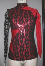 FULLY LINED BLACK STRETCH LACE RHINESTONED TOP DANCE COSTUME--SZ M-MED