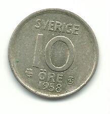 VERY NICE HIGH GRADE VINTAGE 1958 SWEDEN SILVER 10 ORE COIN-JUN796