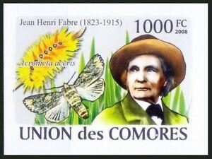 Comoros 2008 MNH Imperf, Butterflies Henri Fabre French Entomologist