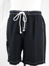 c6c31835aa MERONA Men's SWIM TRUNKS w/ Mesh Liner & Pockets BOARD SHORTS Solid BLACK  ...