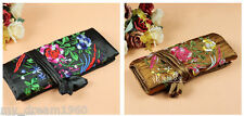 2pcs Silk Embroidered Travel Bag Roll Case Pouch Carrying Brocade Fabric New