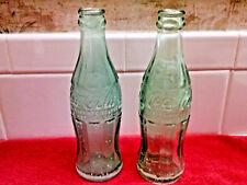 Coca Cola Coke Soda Pop Bottles (2) Green Glass 6 oz & 6 1/2 TEXAS PAT D 105529
