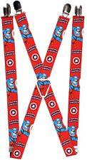 Captain America Marvel Comics Boy's Men Superhero Retro Shield Jump Suspenders