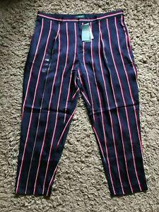 Ralph Lauren Ladies Wonens Striped Summer Trousers (Blue) UK Size 18 W36 - BNWT